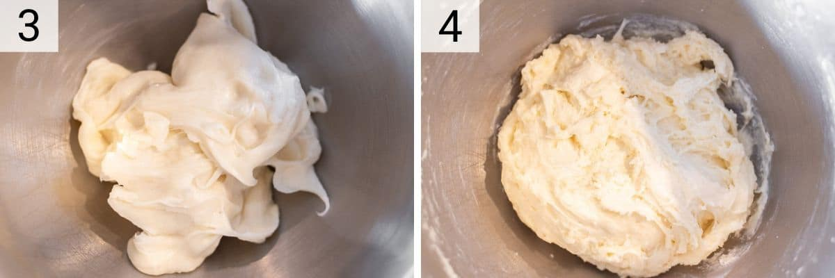 process shots of beating dough for 5 minutes in stand mixer before adding eggs and cheese