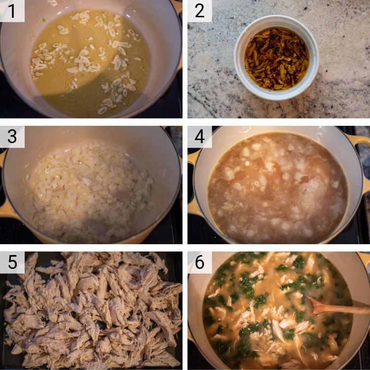process shots of how to make chicken barley soup