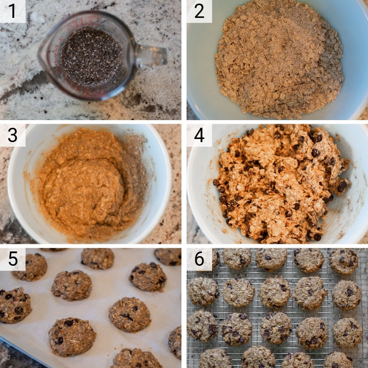 process shots of how to make chocolate peanut butter banana breakfast cookies