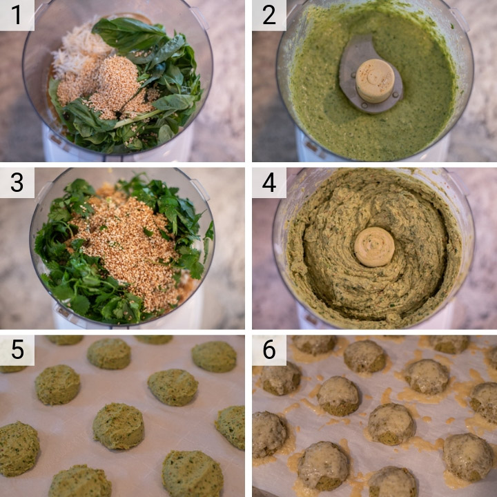 process shots of how to make Greek falafel sandwich