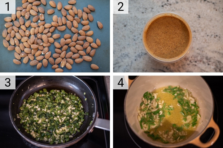 process shots of how to make almond pesto fettuccine
