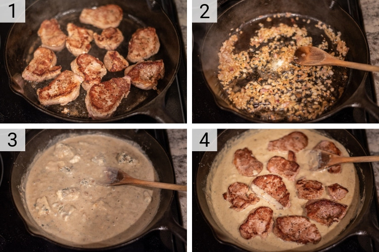 process shots of how to make pork medallions with blue cheese sauce