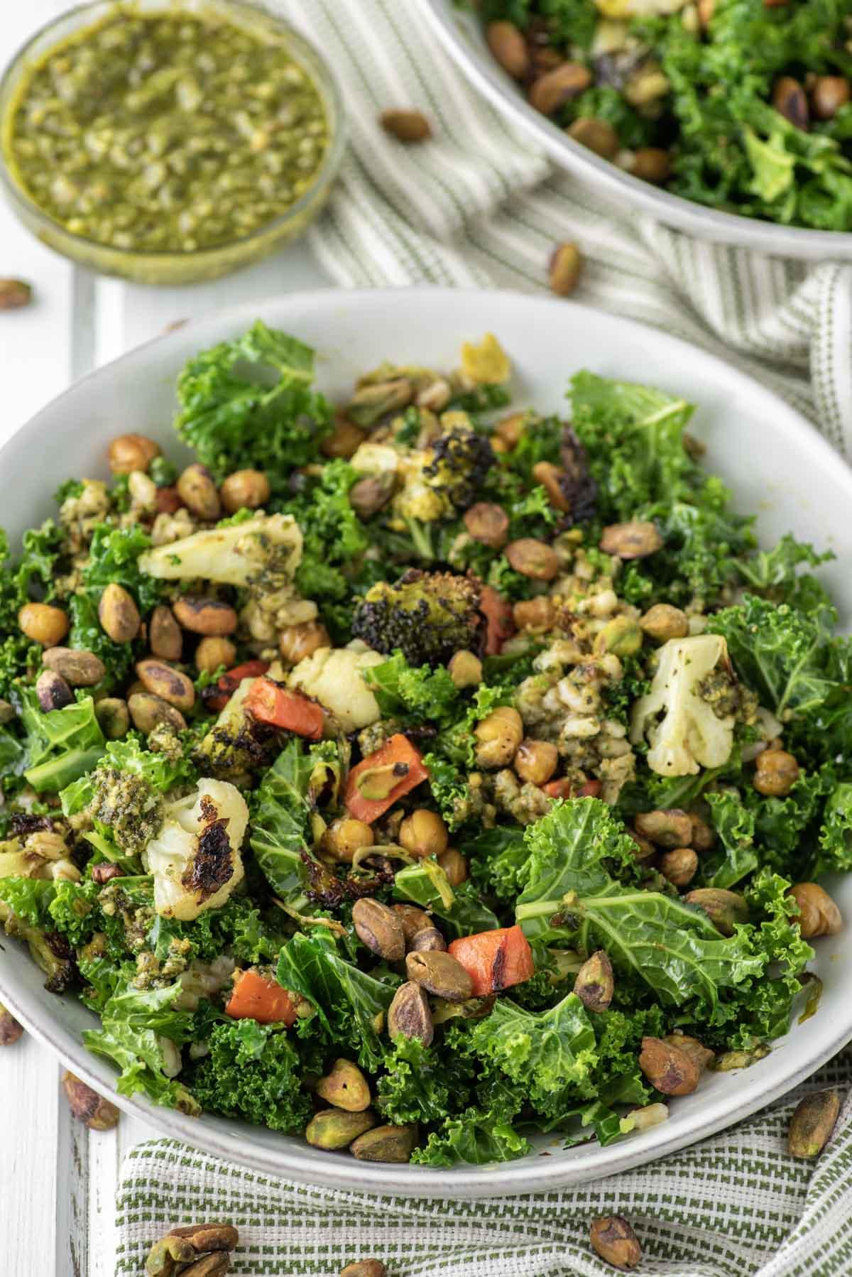 veggie grain bowl in white bowl