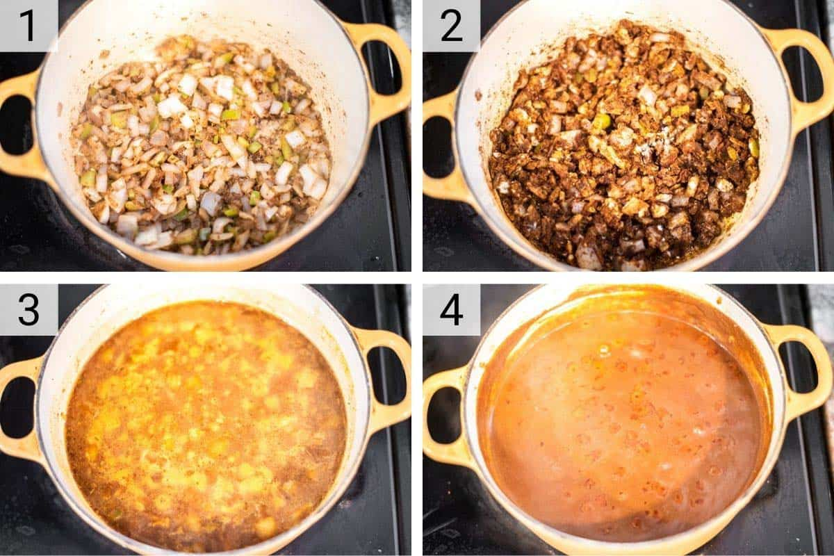 process shots of making mole sauce in Dutch oven