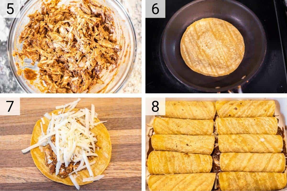process shots of making enchiladas