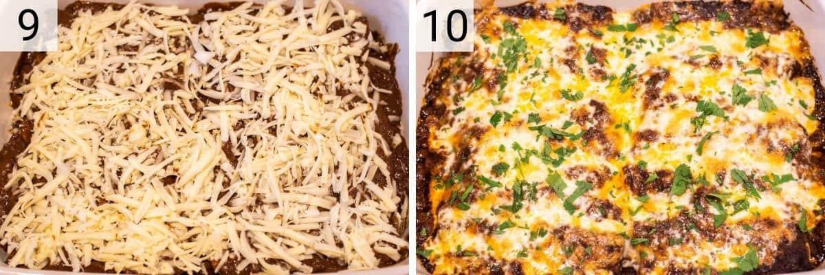 process shots of baking enchiladas in white baking dish