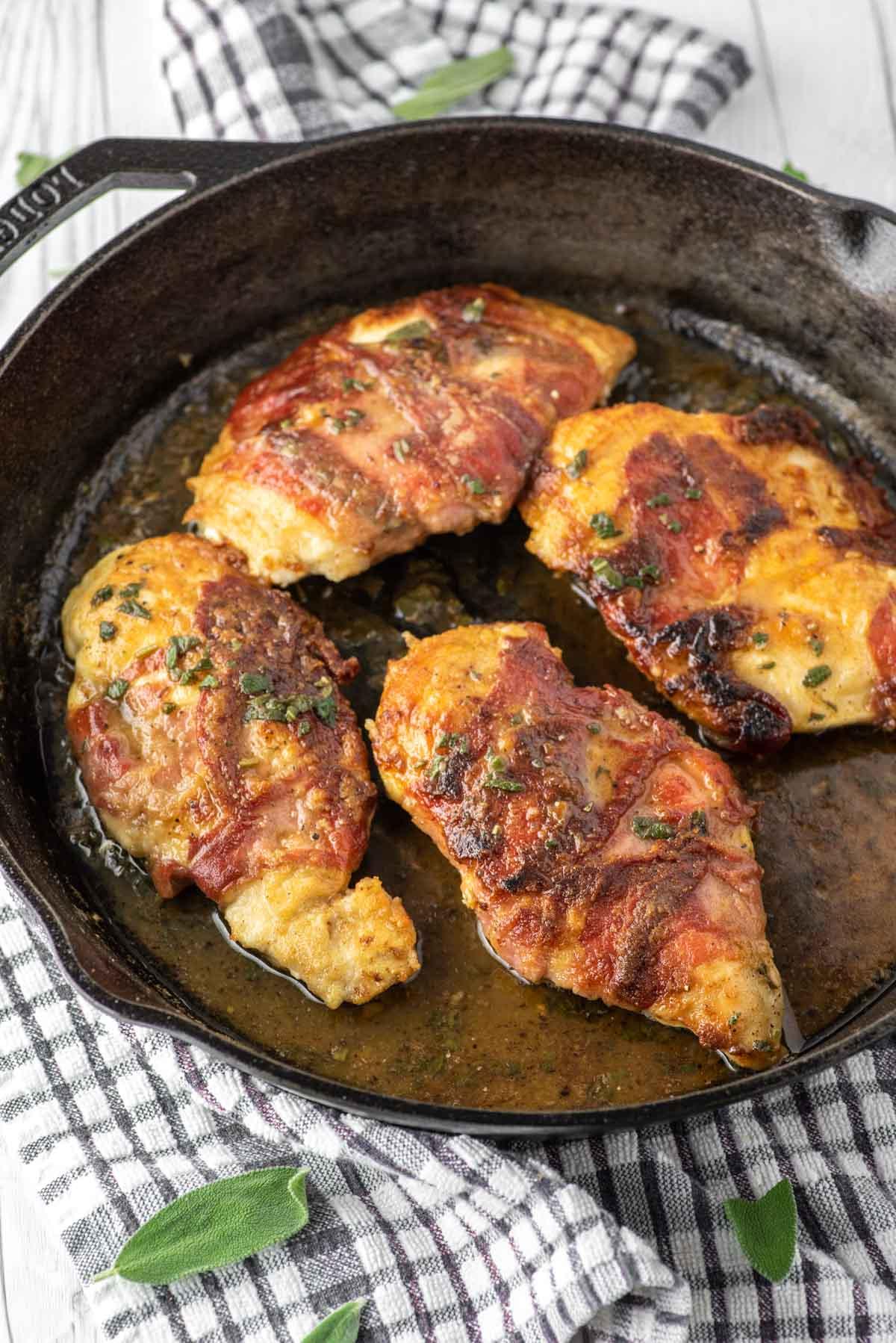 chicken saltimbocca in cast iron skillet
