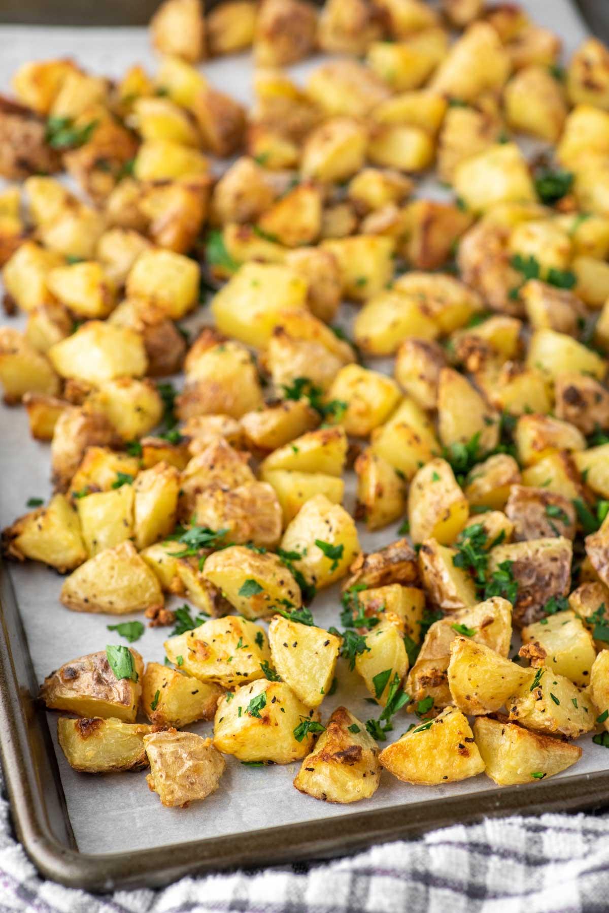 crispy roasted potatoes in baking sheet