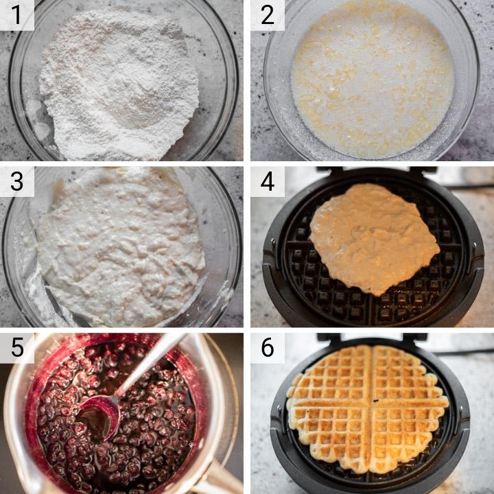 process shots of how to make lemon ricotta waffles