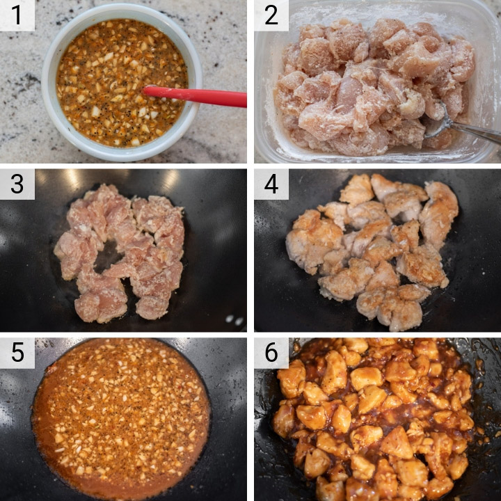 process shots of how to make orange chicken