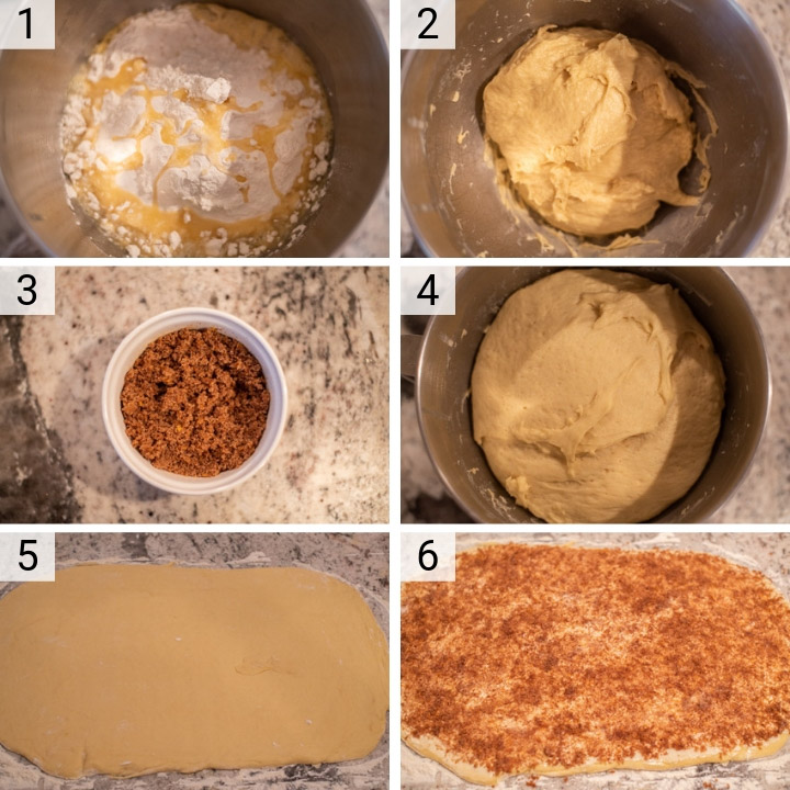 process shots of how to make orange rolls