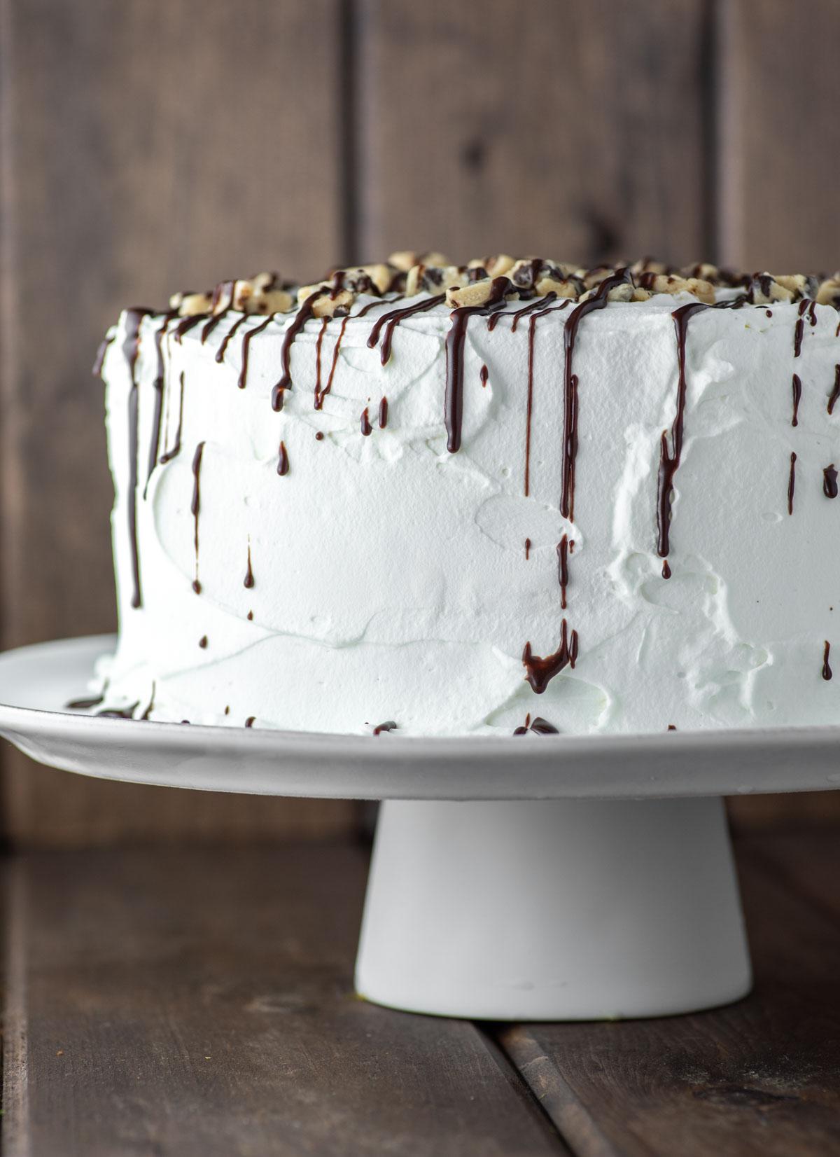 cookie dough ice cream cake on white stand