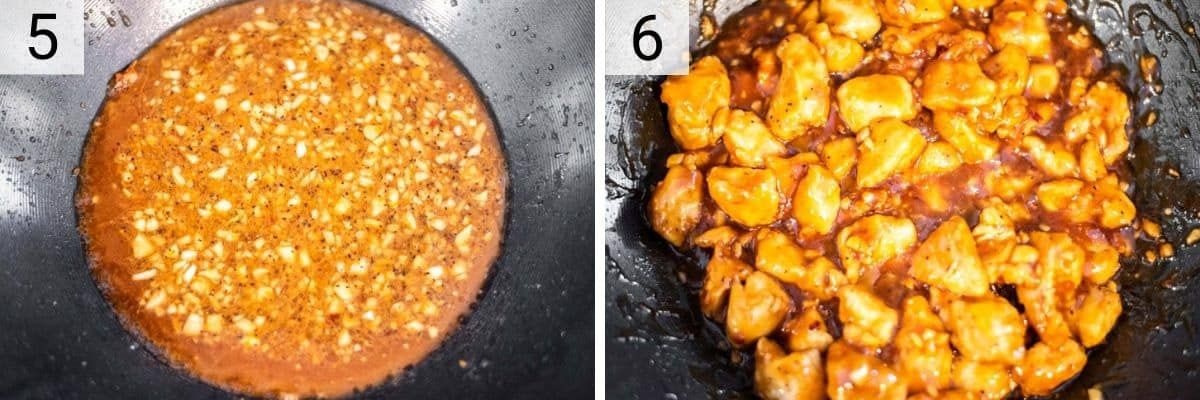 process shots of boiling sauce before tossing in chicken