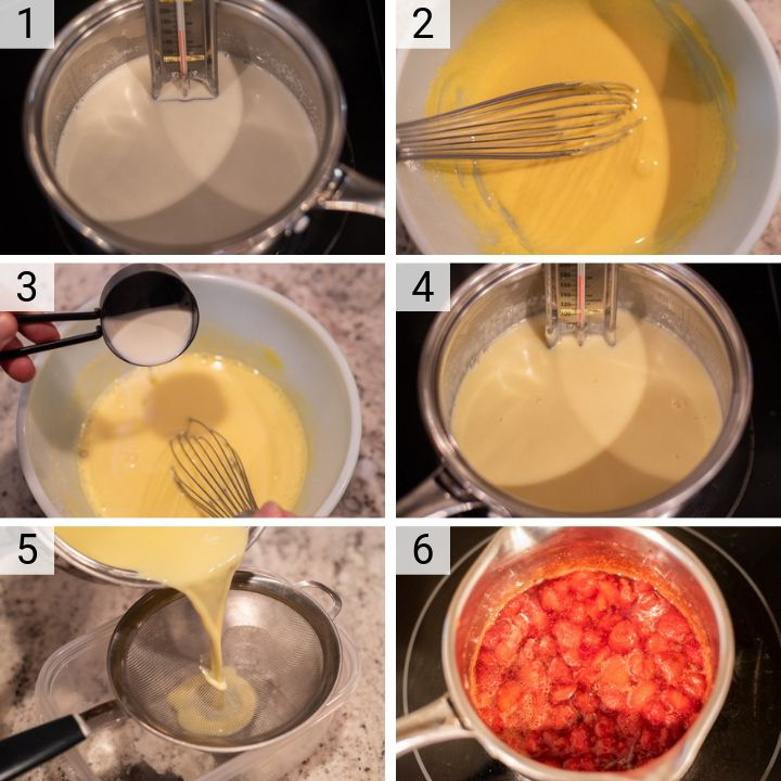 process shots of how to make strawberry ice cream