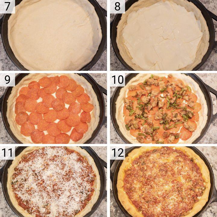 process shots of how to make deep dish pizza