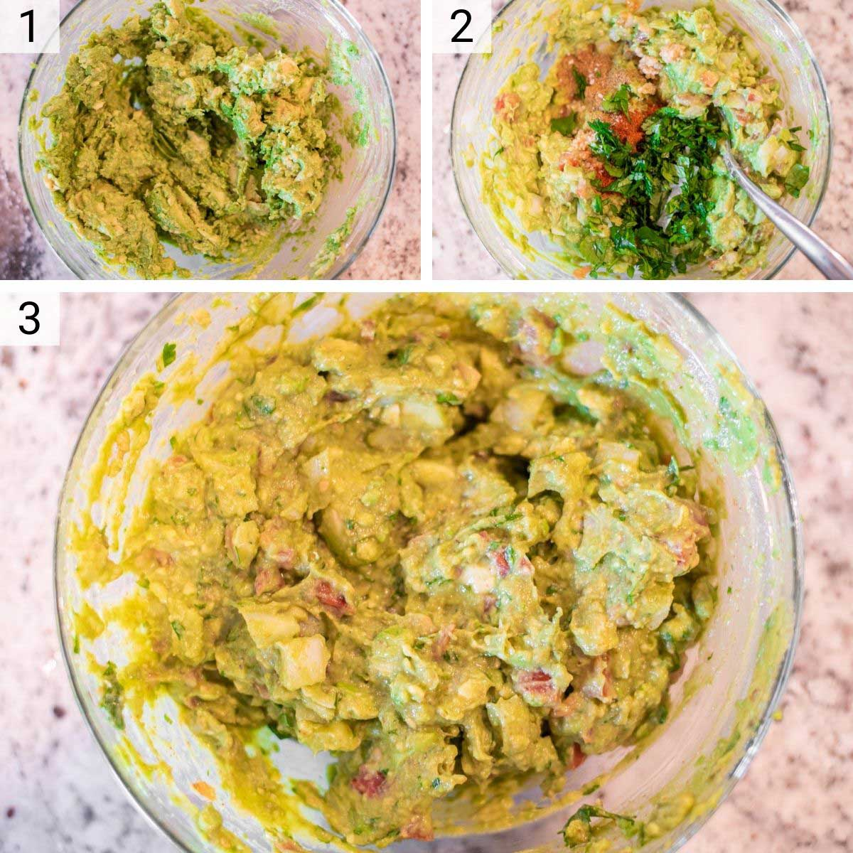 process shots of how to make guacamole