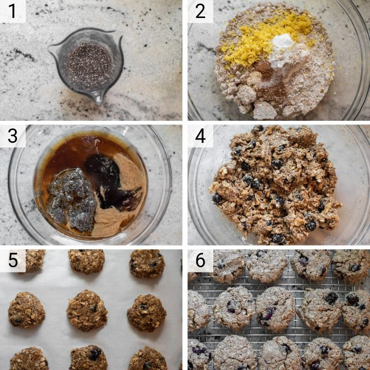 process shots of how to make lemon blueberry breakfast cookies