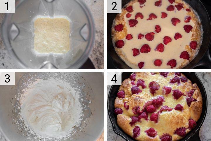process shots of how to make raspberry lemon dutch baby