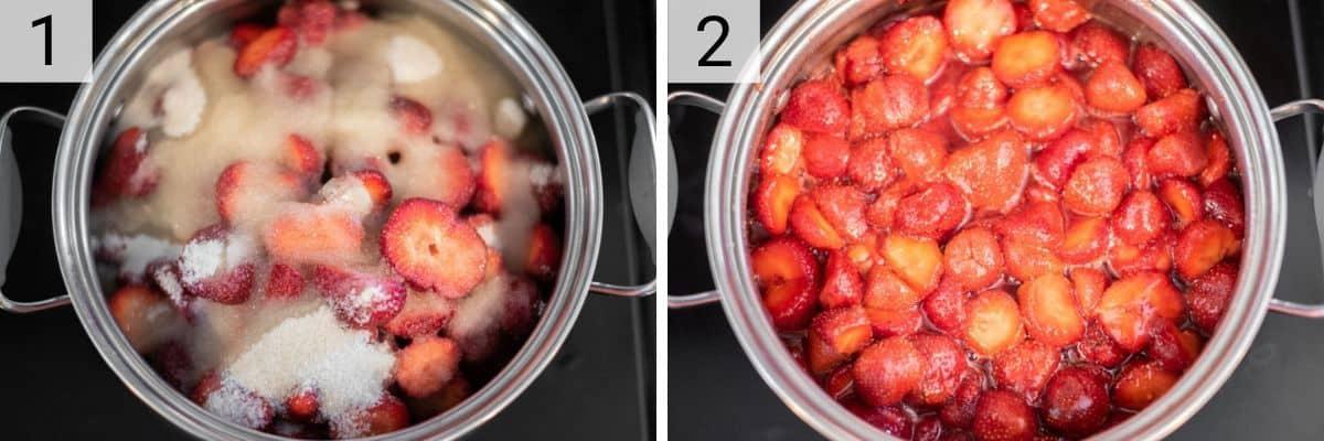 process shots of cooking strawberries, lemon juice and sugar