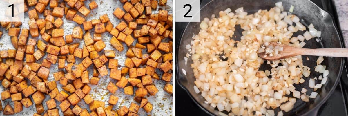 process shots of roasting sweet potatoes and cooking onions in skillet