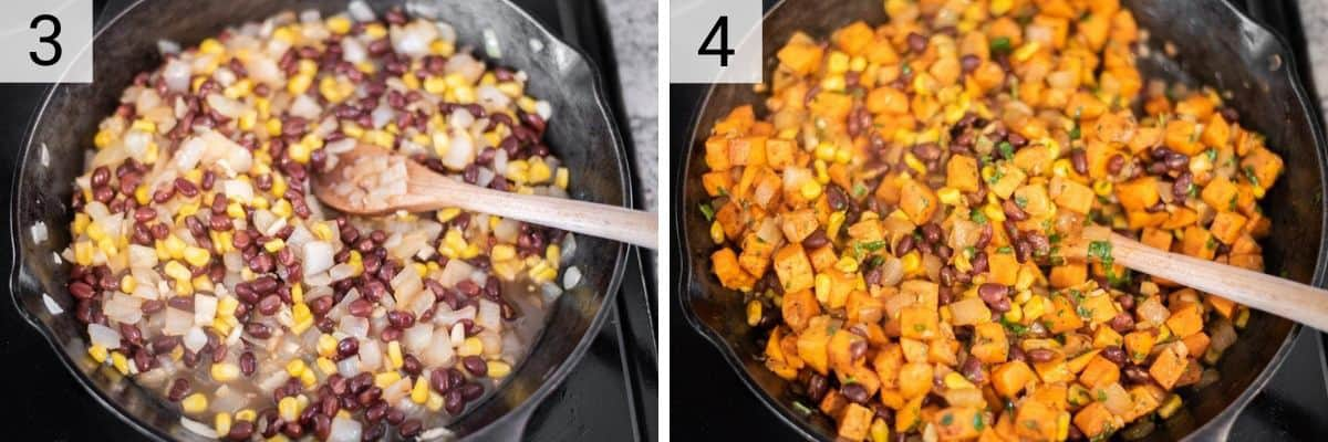 process shots of adding black beans, corn, honey to skillet and then stir in sweet potatoes