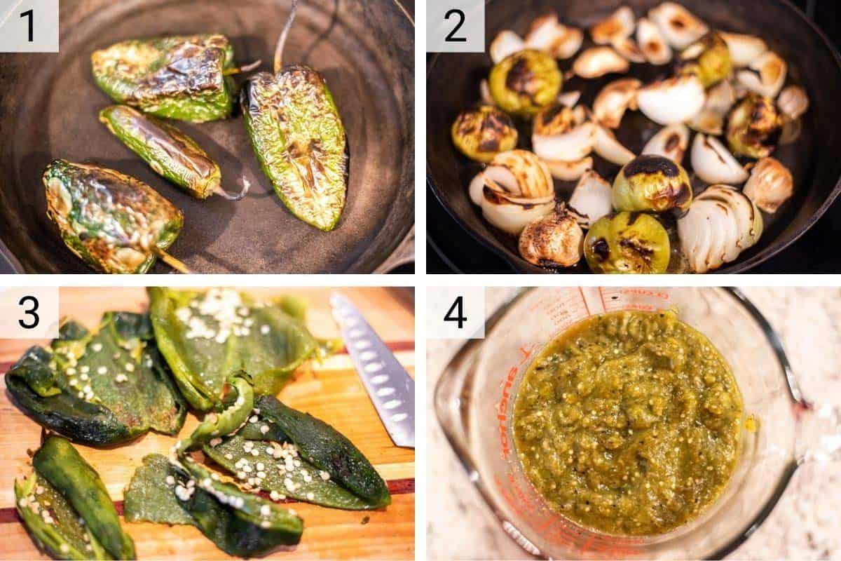process shots of making salsa verde