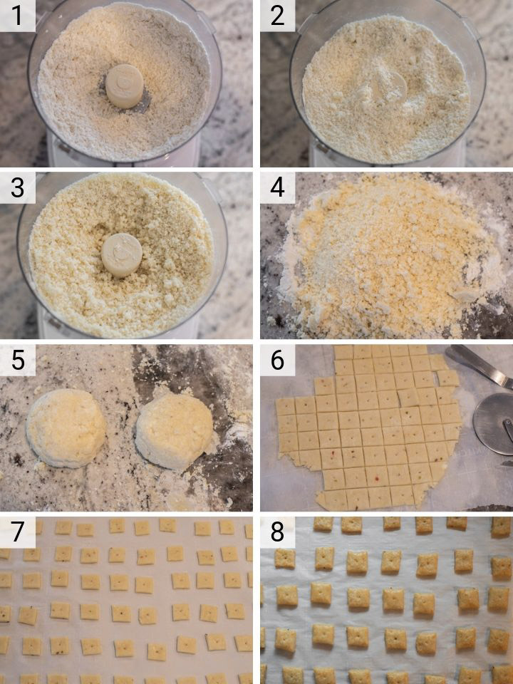 process shots of how to make homemade cheese crackers