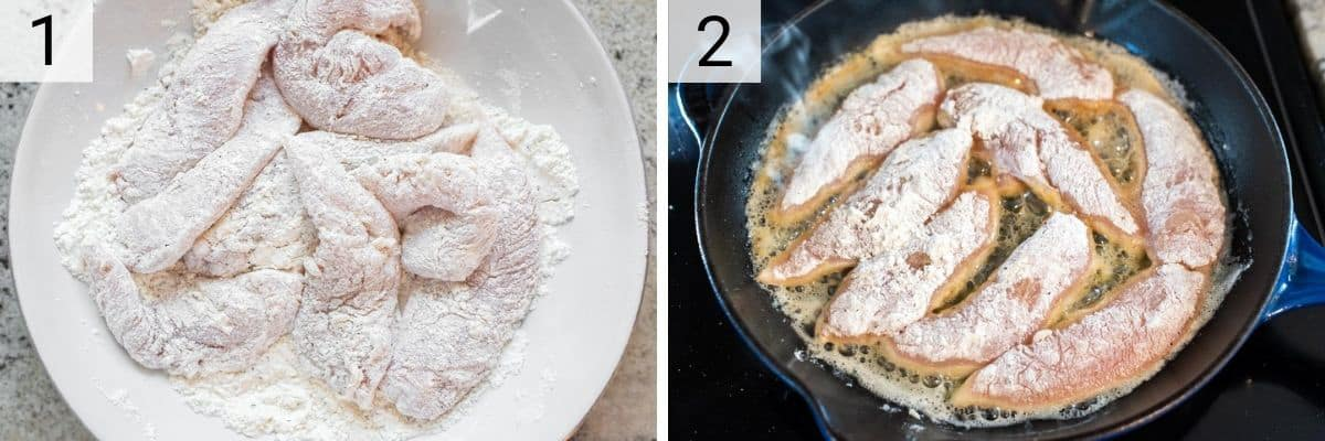 process shots of tossing chicken in flour and cooking in skillet
