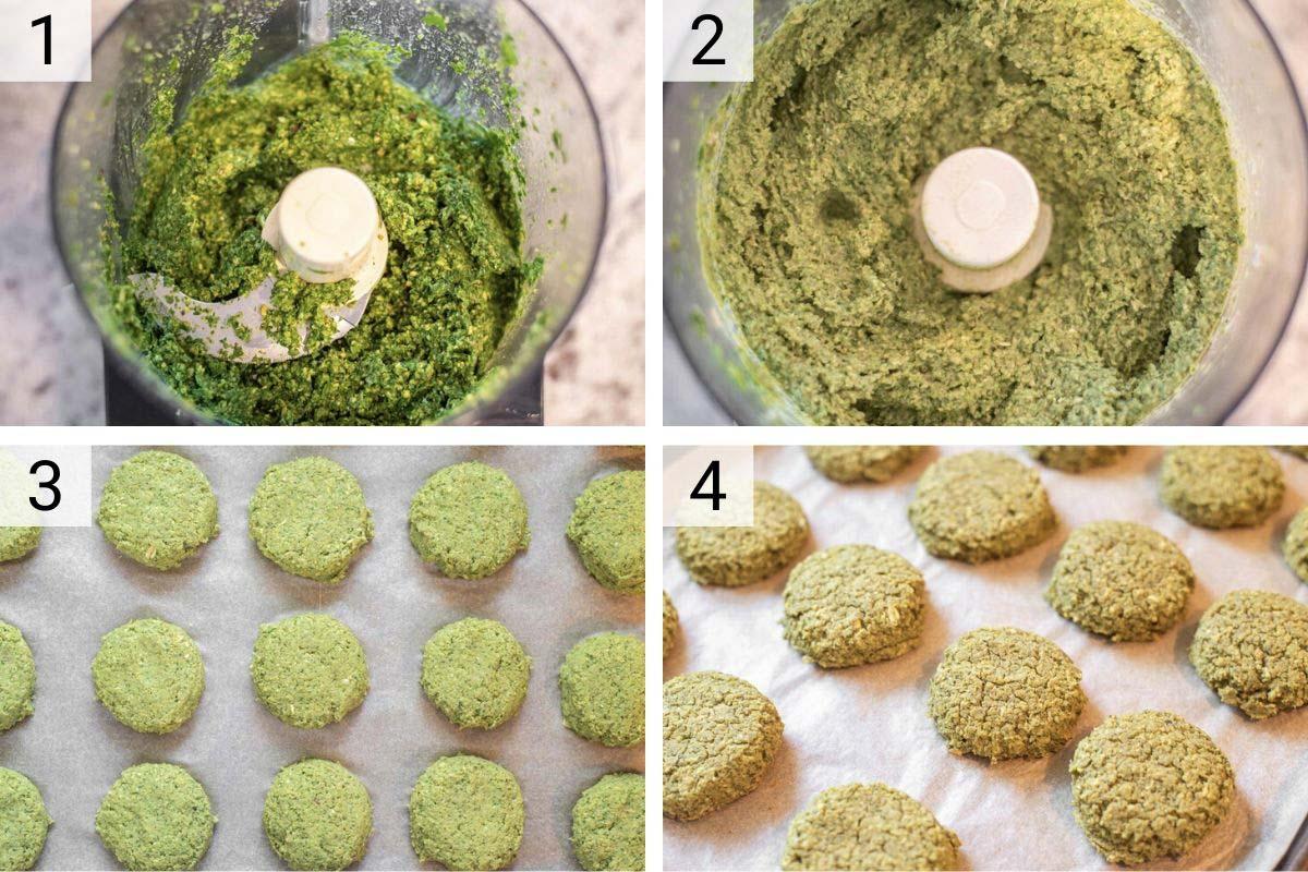 process shots of how to make lentil falafel