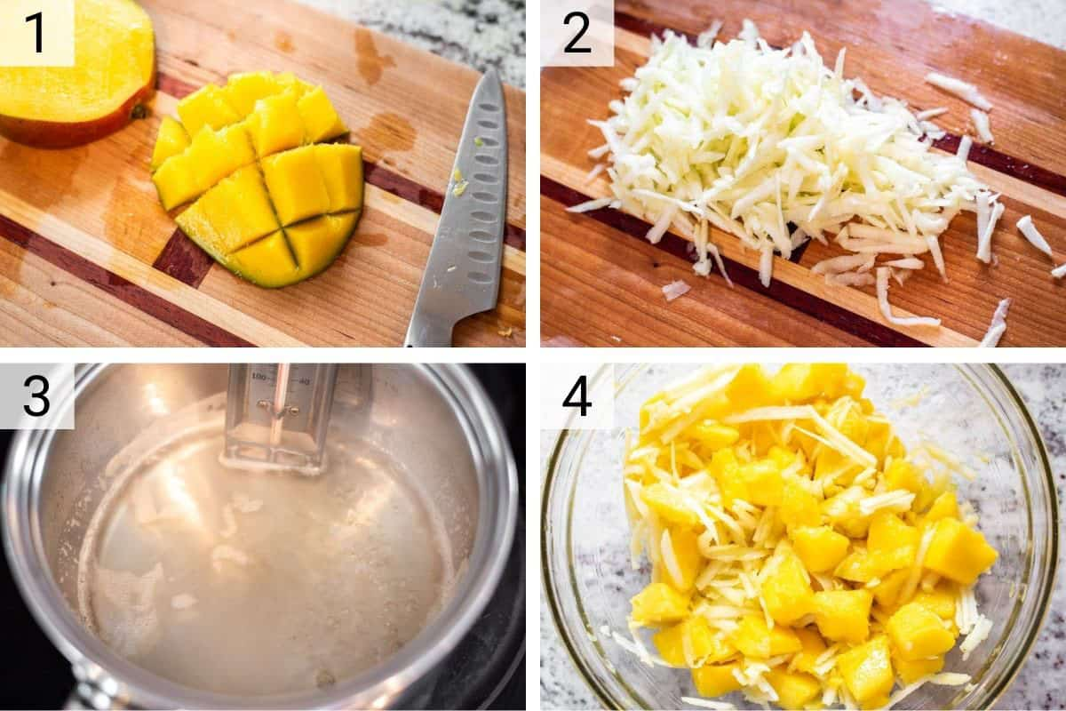 process shots of cutting fruit and boiling sugar before combining mangos and apple in bowl