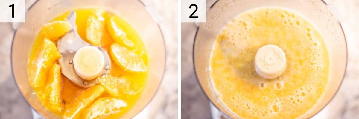 process shots of adding oranges and orange juice to food processor and pureeing until smooth