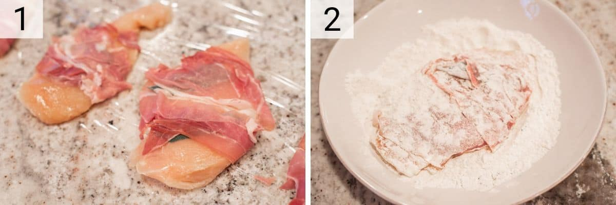 process shots of wrapping chicken in sage and prosciutto and dredging in flour