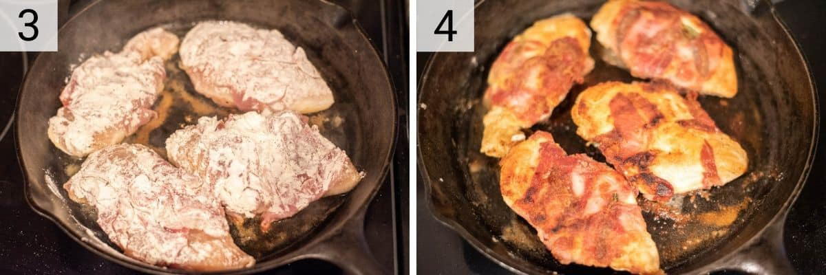 process shots of cooking chicken in skillet