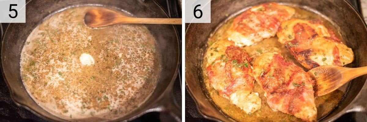 process shots of deglazing skillet with wine and adding chicken, tossing in the sauce
