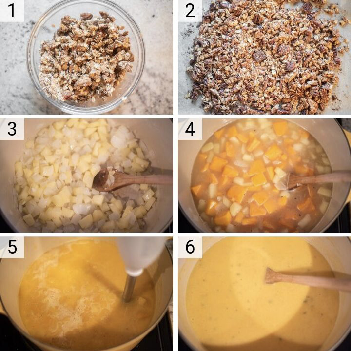 process shots of how to make butternut squash apple soup
