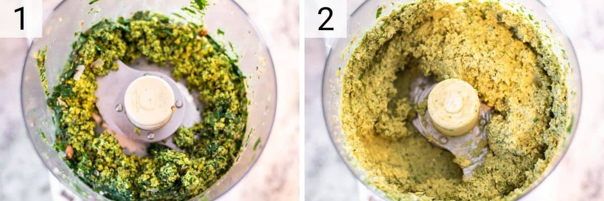 process shots of pureeing ingredients for falafel