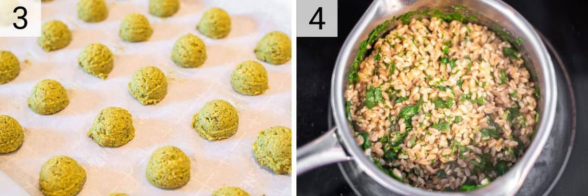 process shots of adding falafel to baking sheet and cooking farro