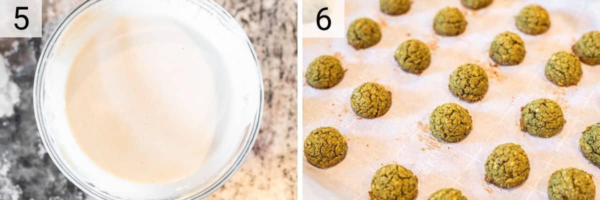 process shots of making tahini dressing and baking falafel