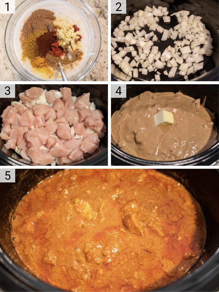 process shots of how to make Indian butter chicken