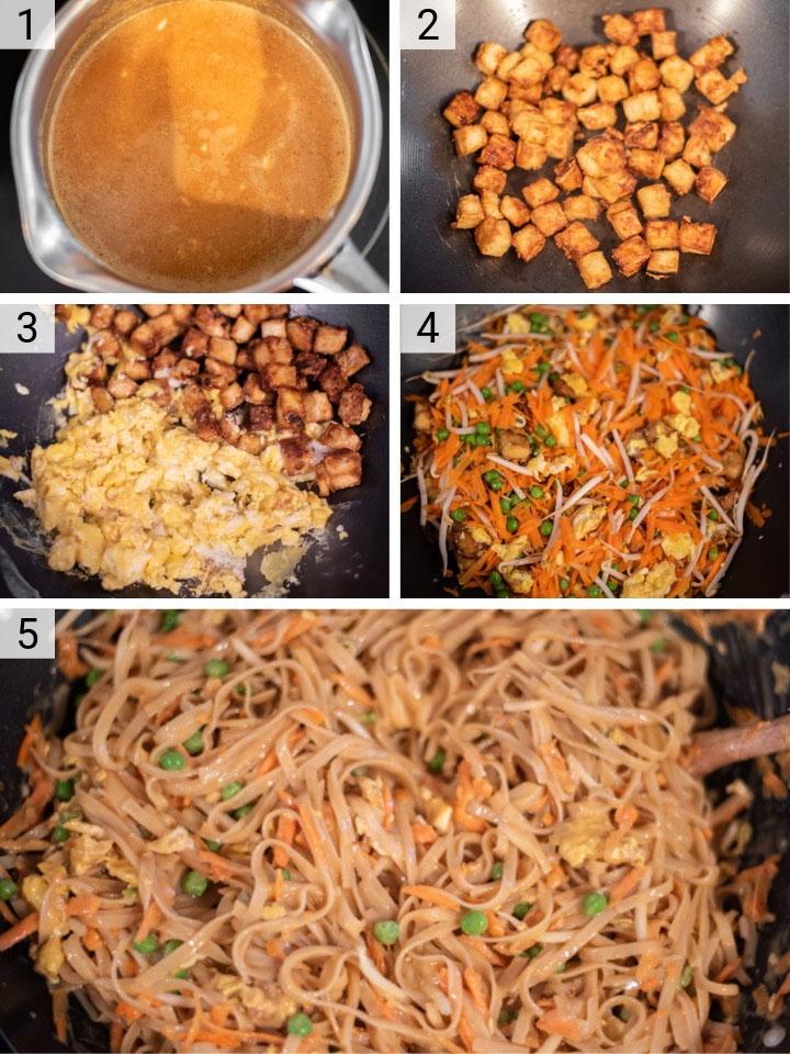 process shots of how to make Pad Thai