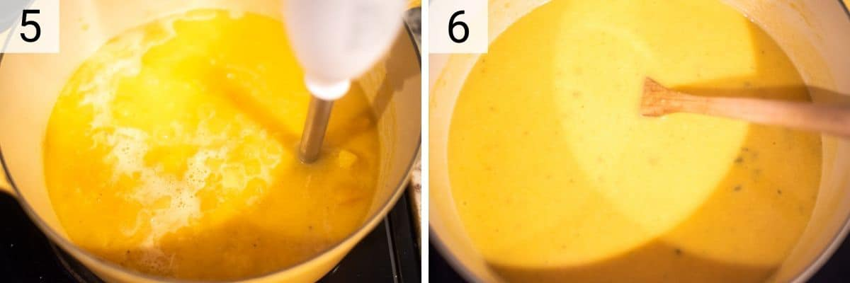 process shots of blending soup until you reach desired consistency