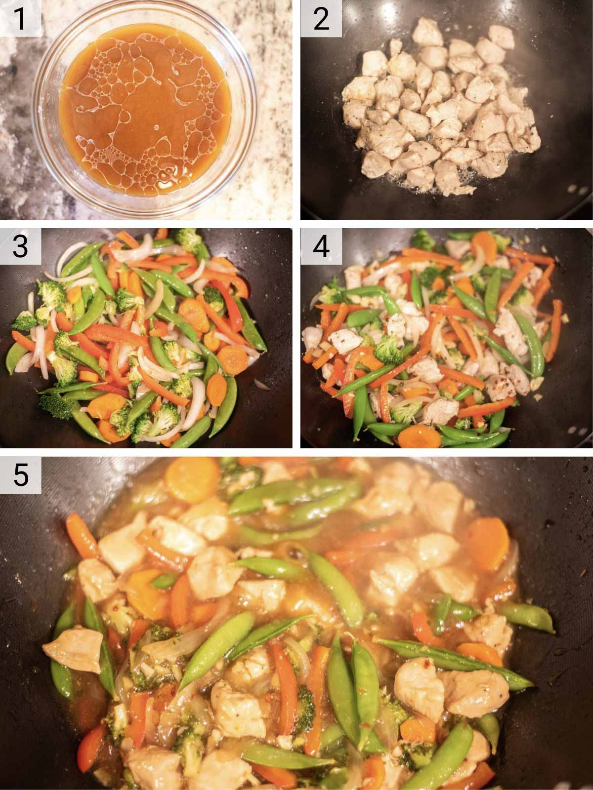 process shots of how to make chicken and veggie stir fry