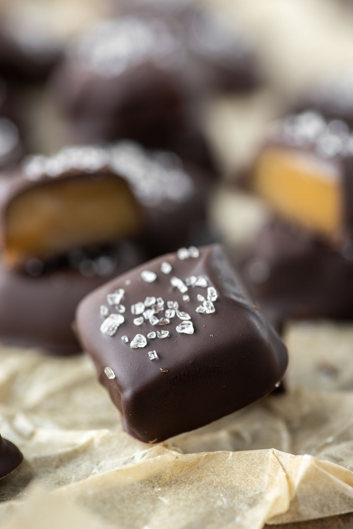 salted chocolate covered bourbon caramels
