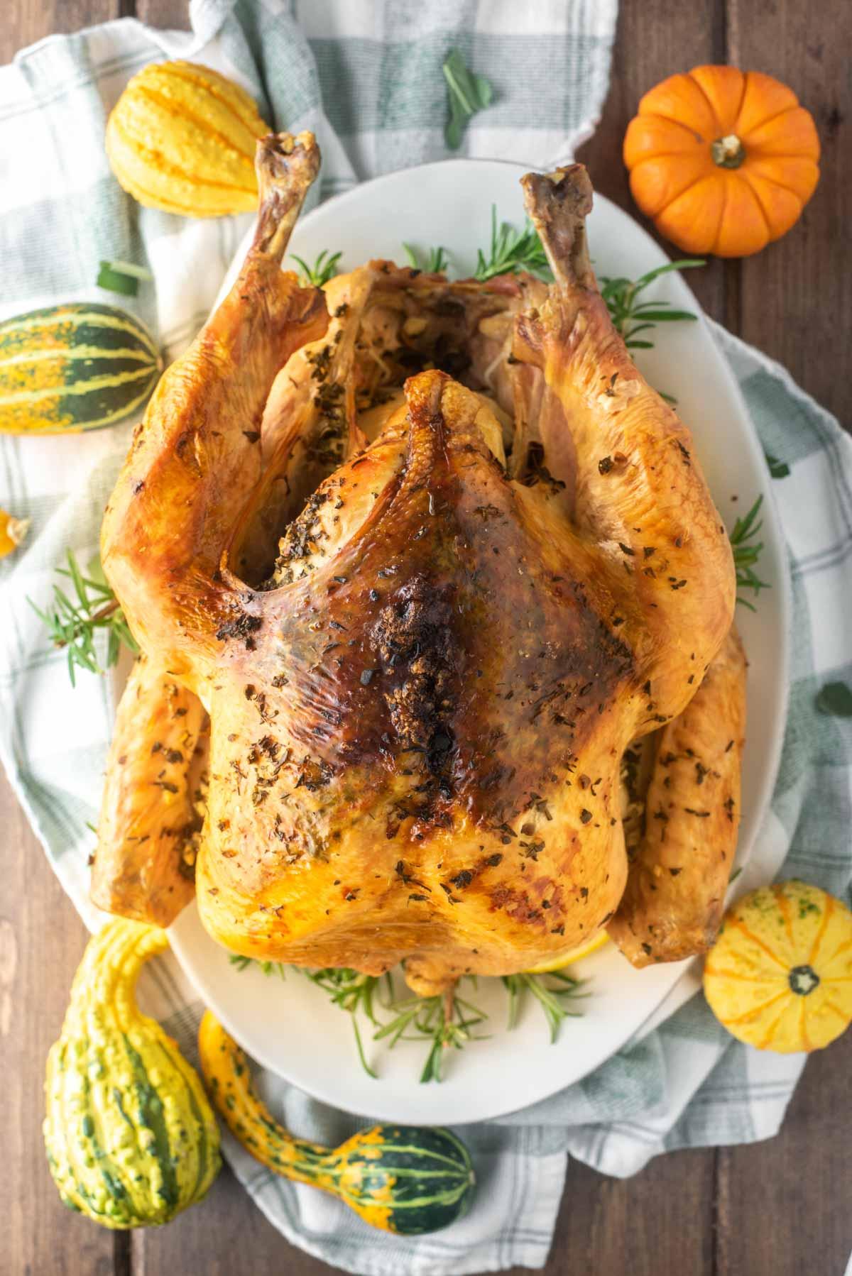 overhead shot of herb roasted turkey