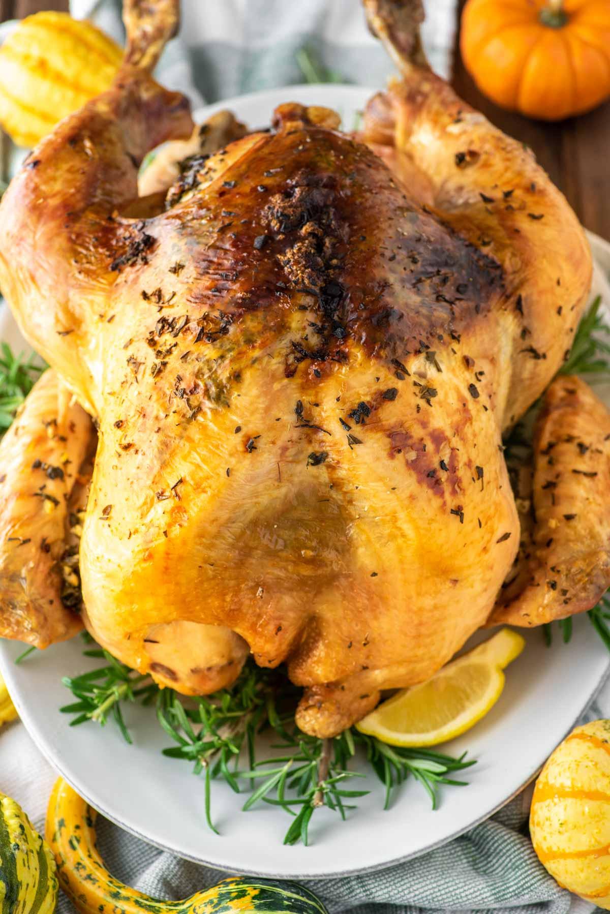 herb roasted turkey on plate