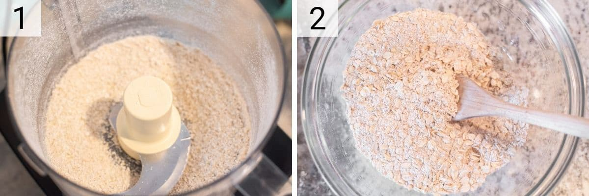 process shots of blending oats into flour and mixing dry ingredients in bowl