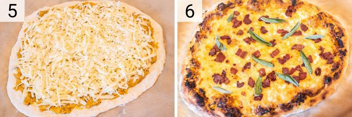 process shots of adding cheese to pizza before baking in oven and topping with pancetta