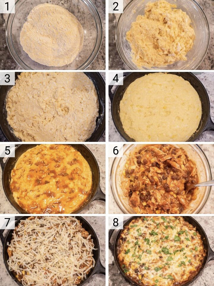 process shots of how to make turkey tamale pie