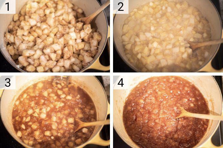 process shots of how to make apple and pear jam