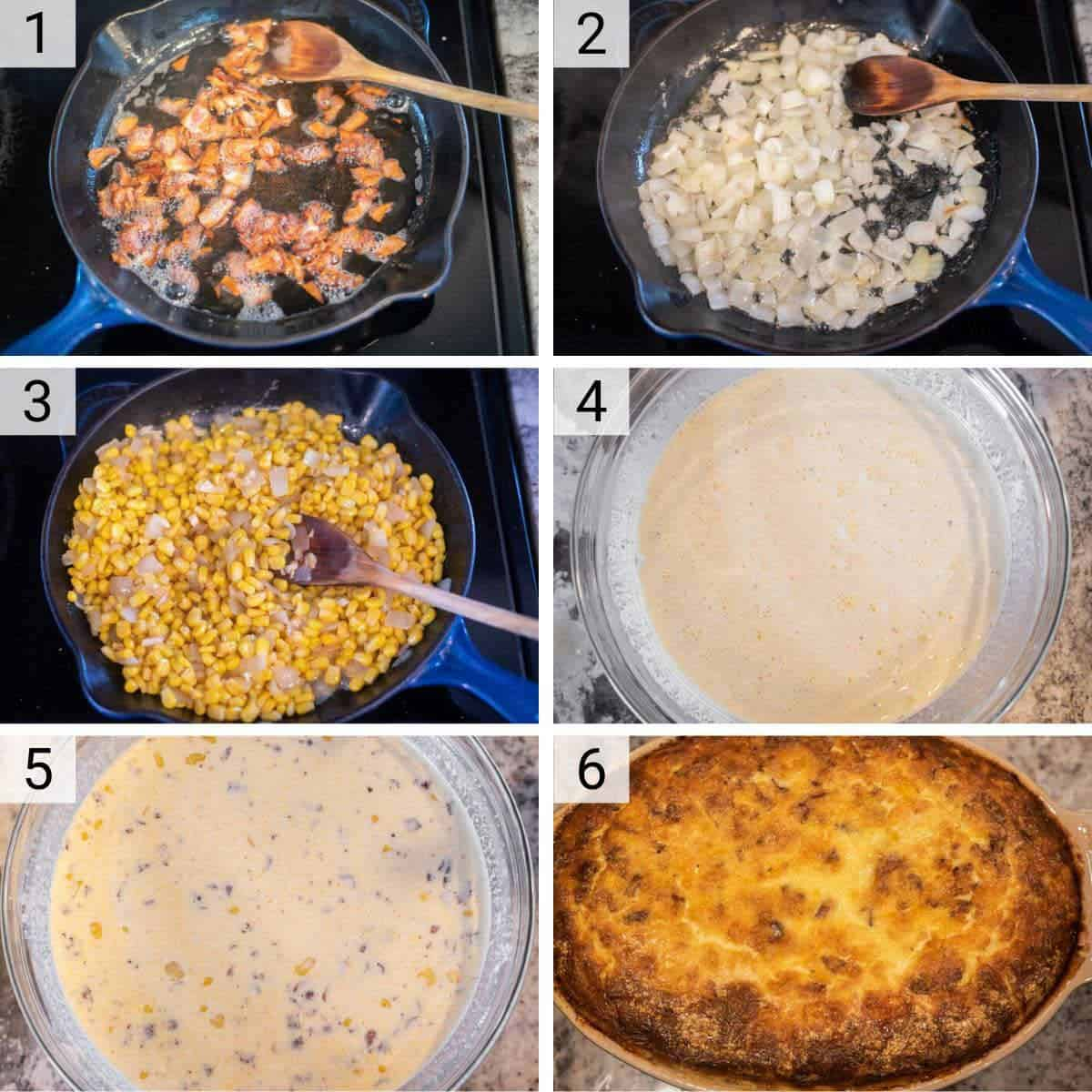 process shots of how to make corn pudding